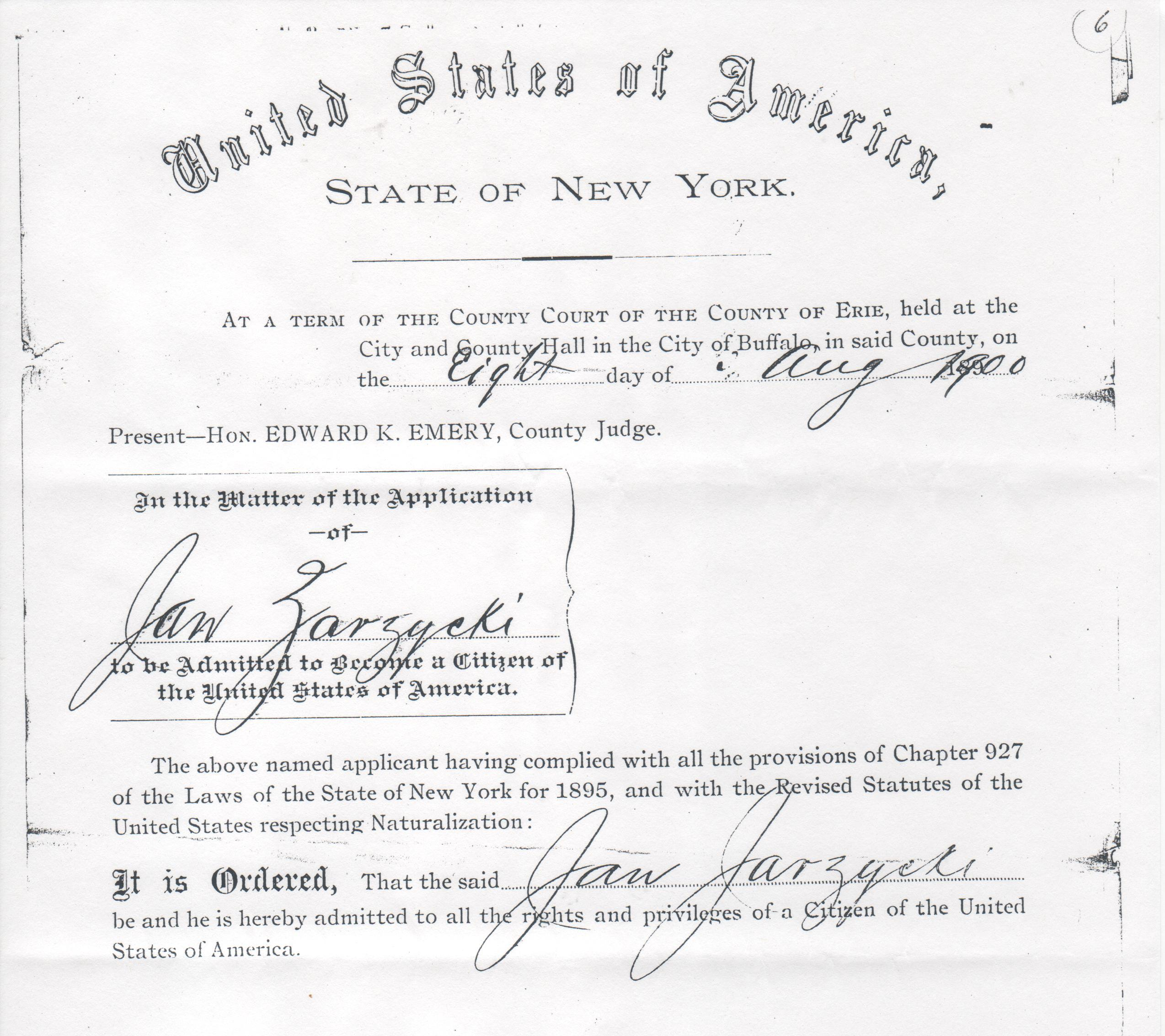 Jan Zazycki naturalization certificate 2