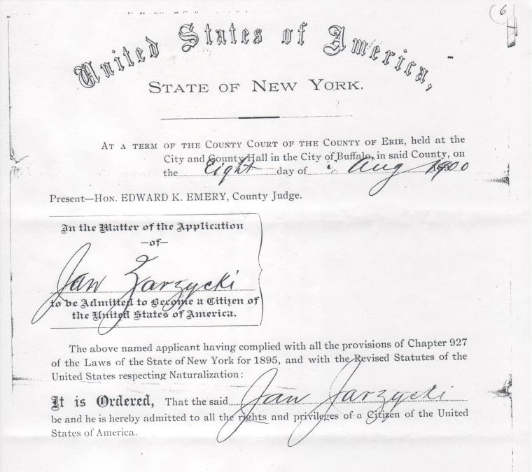 Jan Zazycki naturalization certificate 2