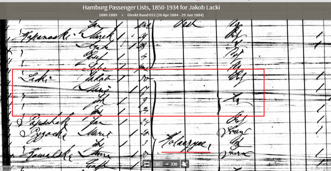 Closeup of Hamburg Emigration record for Lacki family