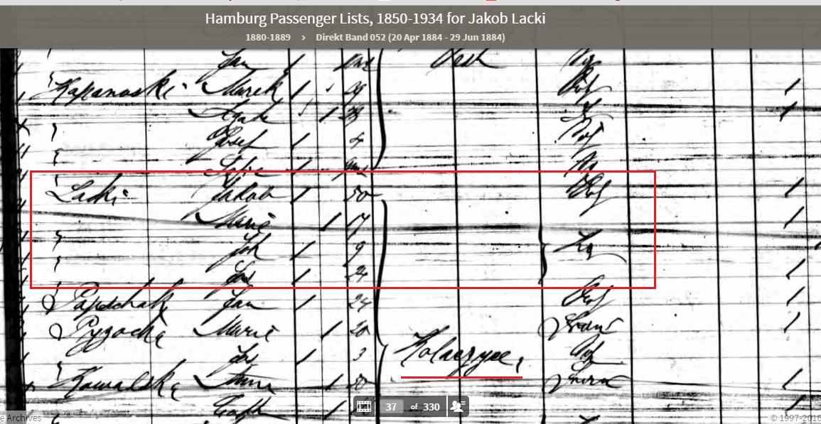 Closeup of Hamburg Emigration record for Lacki family