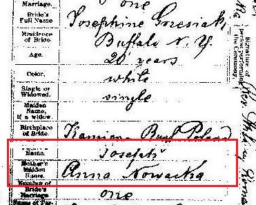 Jozefa Grzesiak & Jozef Cymermann marriage record 1 marked