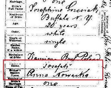 Jozefa Grzesiak & Jozef Cymermann marriage record 1 marked