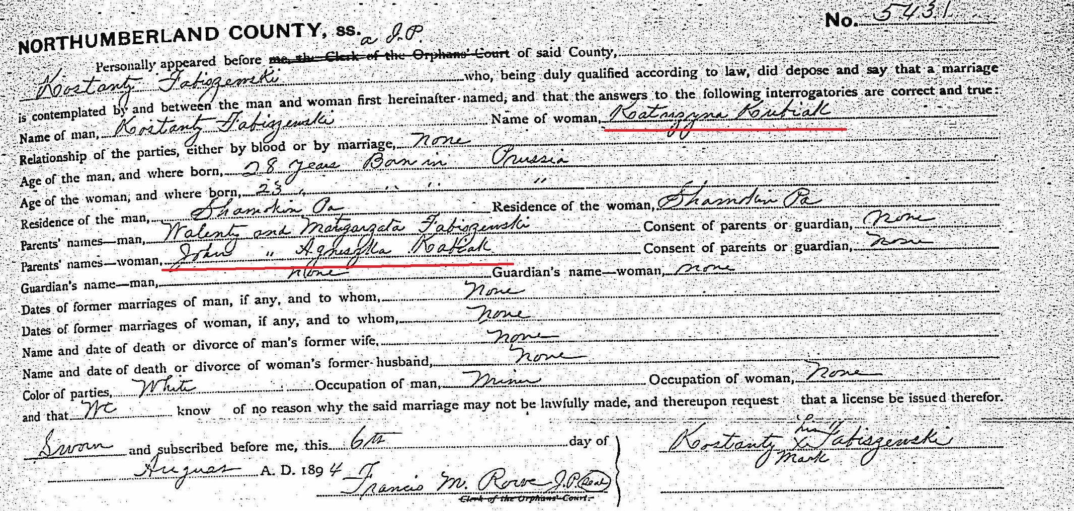Konstanty Fabiszewski and Katherine Konczal 1894 crop marked