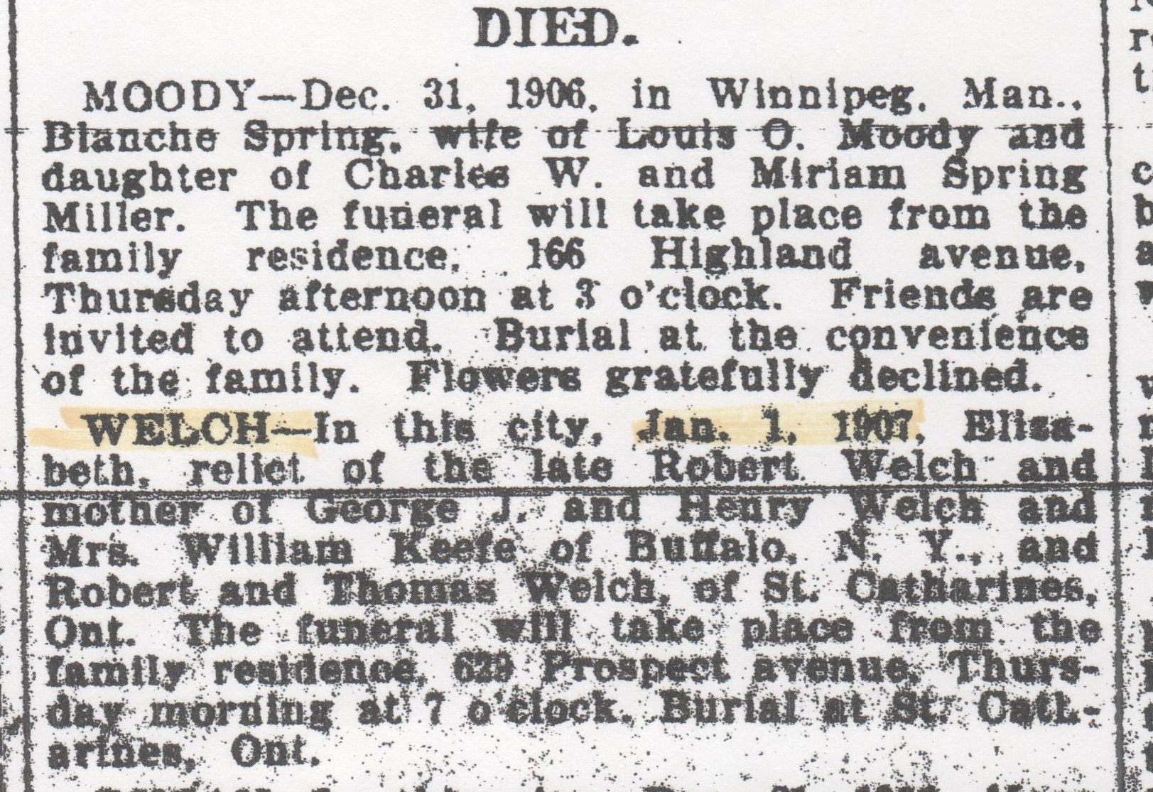 elizabeth-welch-obit-buffalo-evening-news-wed-2-jan-1907-crop
