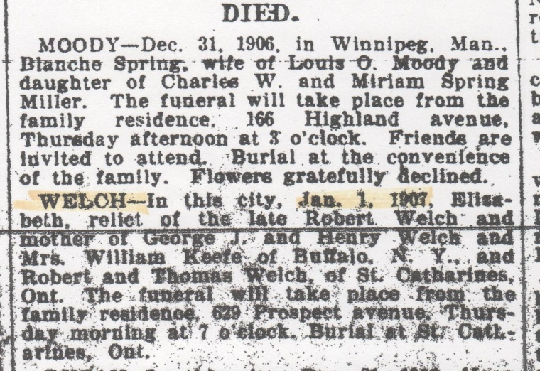 elizabeth-welch-obit-buffalo-evening-news-wed-2-jan-1907-crop