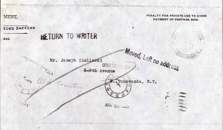 Page 31 Apr 28 1921 Envelope to Jos Zielinski marked undeliverable.jpg