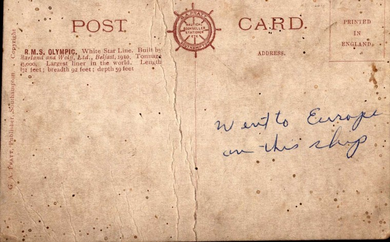 Reverse of postcard from RMS Olympic