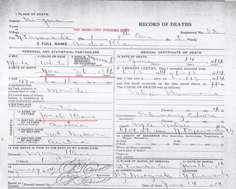 Andrew Klaus death certificate marked