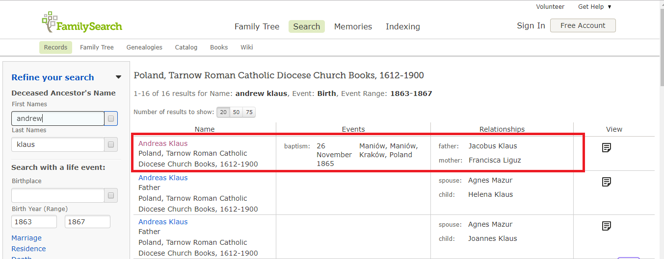Family Search index for Andrew Klaus