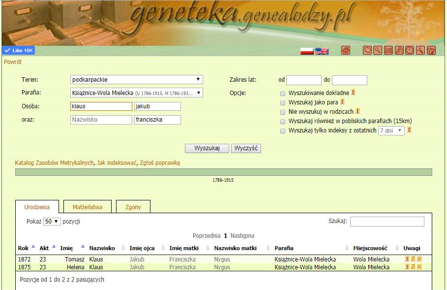 Geneteka screenshot