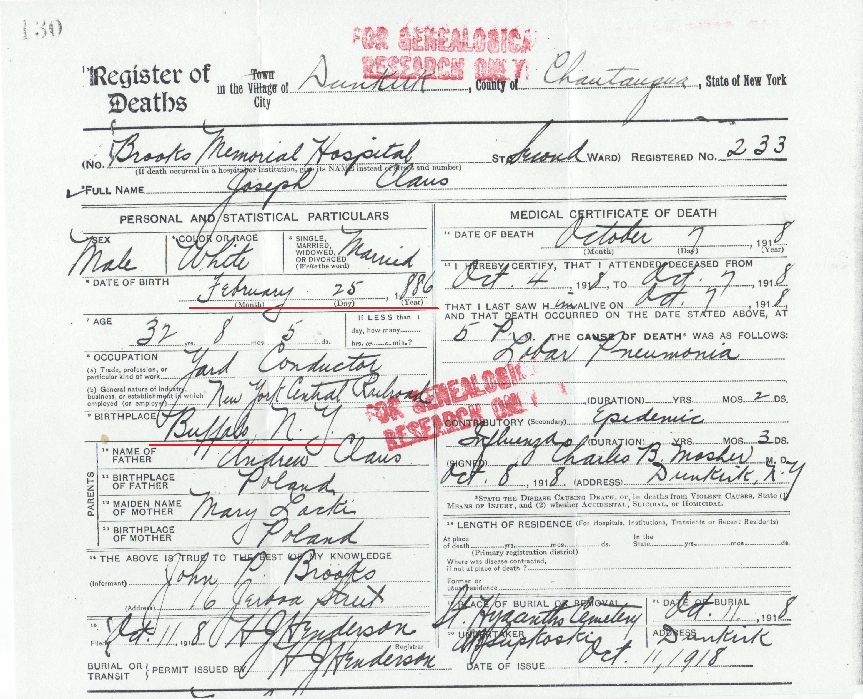 Joseph Klaus death certificate