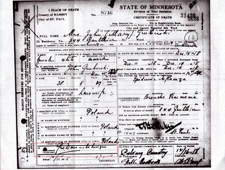 Mary Gruberski death 1918.jpg