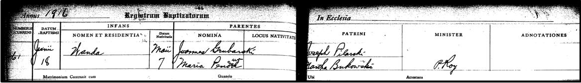 Wanda Gruberska baptism 1916