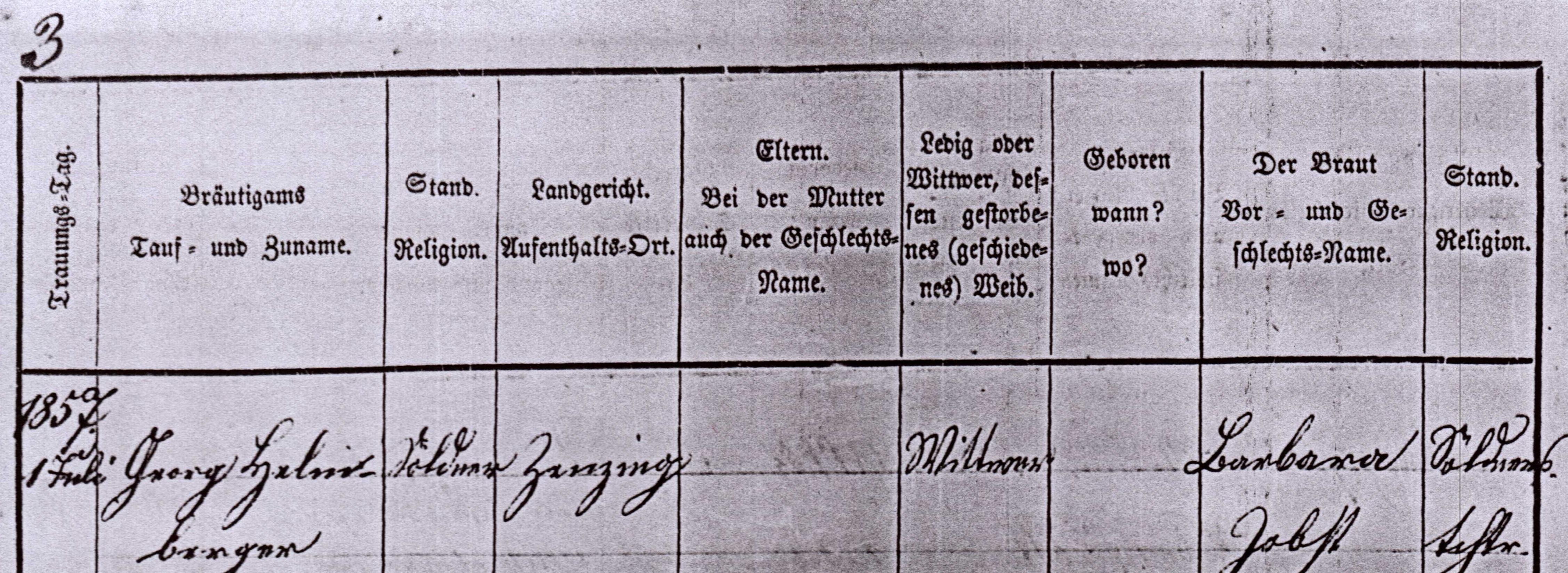 Johann Meier & Anna Maria Urban 1857 p 1 top crop
