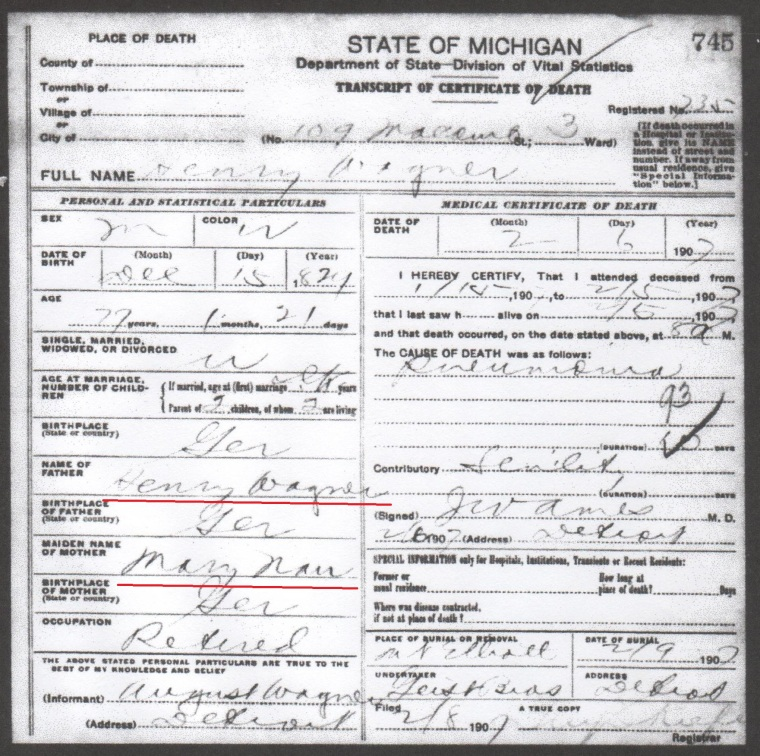 Henry Wagner death certificate