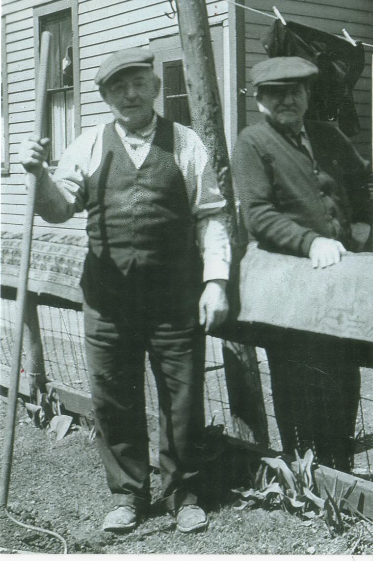 Wenzel Meier on left with neighbor circa 1939