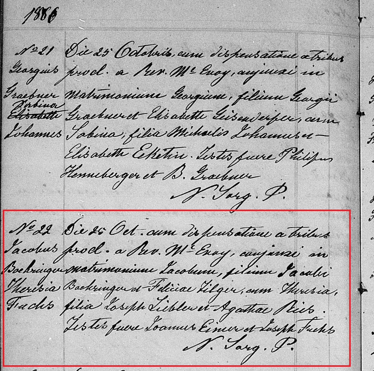Jacob Boehringer and Theresa Liebler marriage 1866 marked