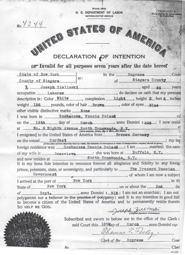 Joseph Zielinski Declaration of Intention to Naturalize photo edited