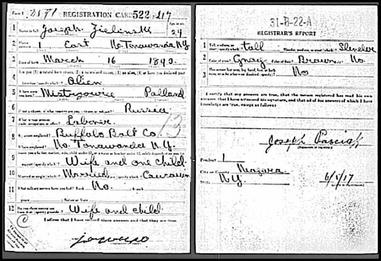 Joseph Zielinski World War I Draft Registration Card