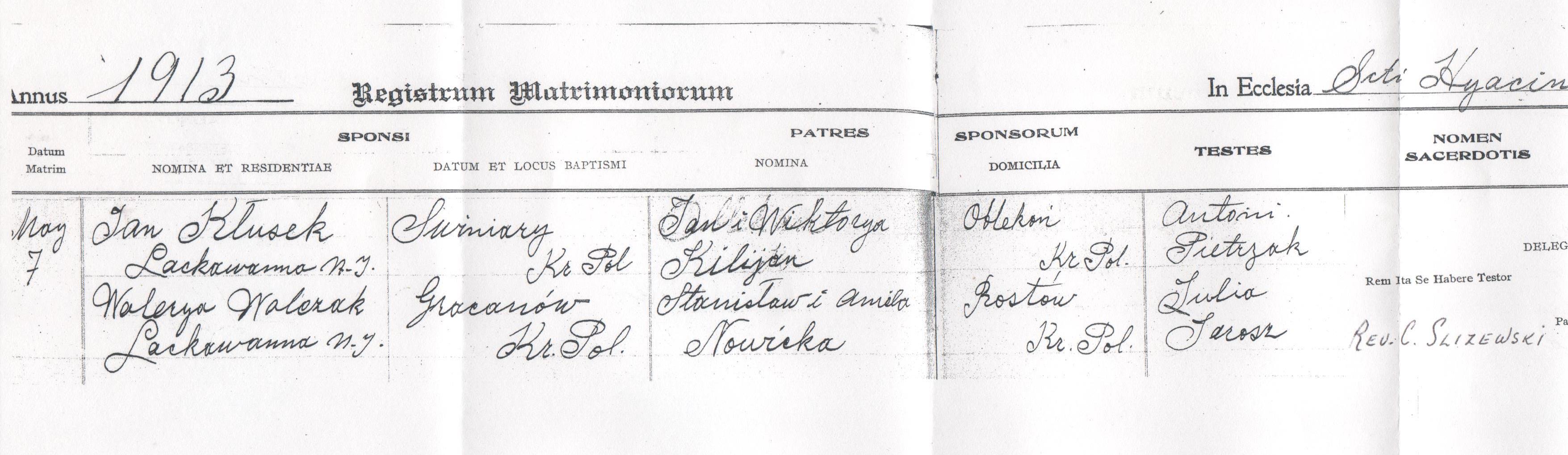 Waleria Majczyk & Jan Klusek 1913 (part 1)