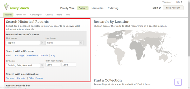Search Historical Records