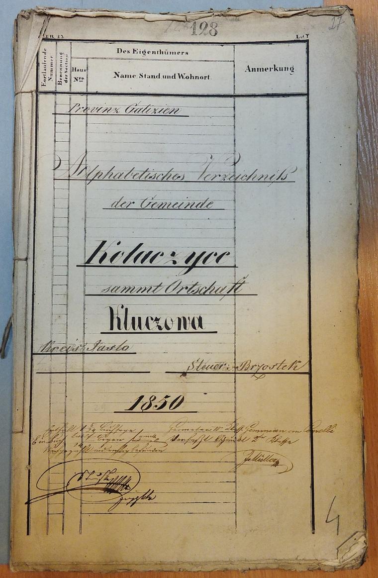 Alphabetisches Verzeichniss der Gemeinde Kolaczyce 1850 cover page