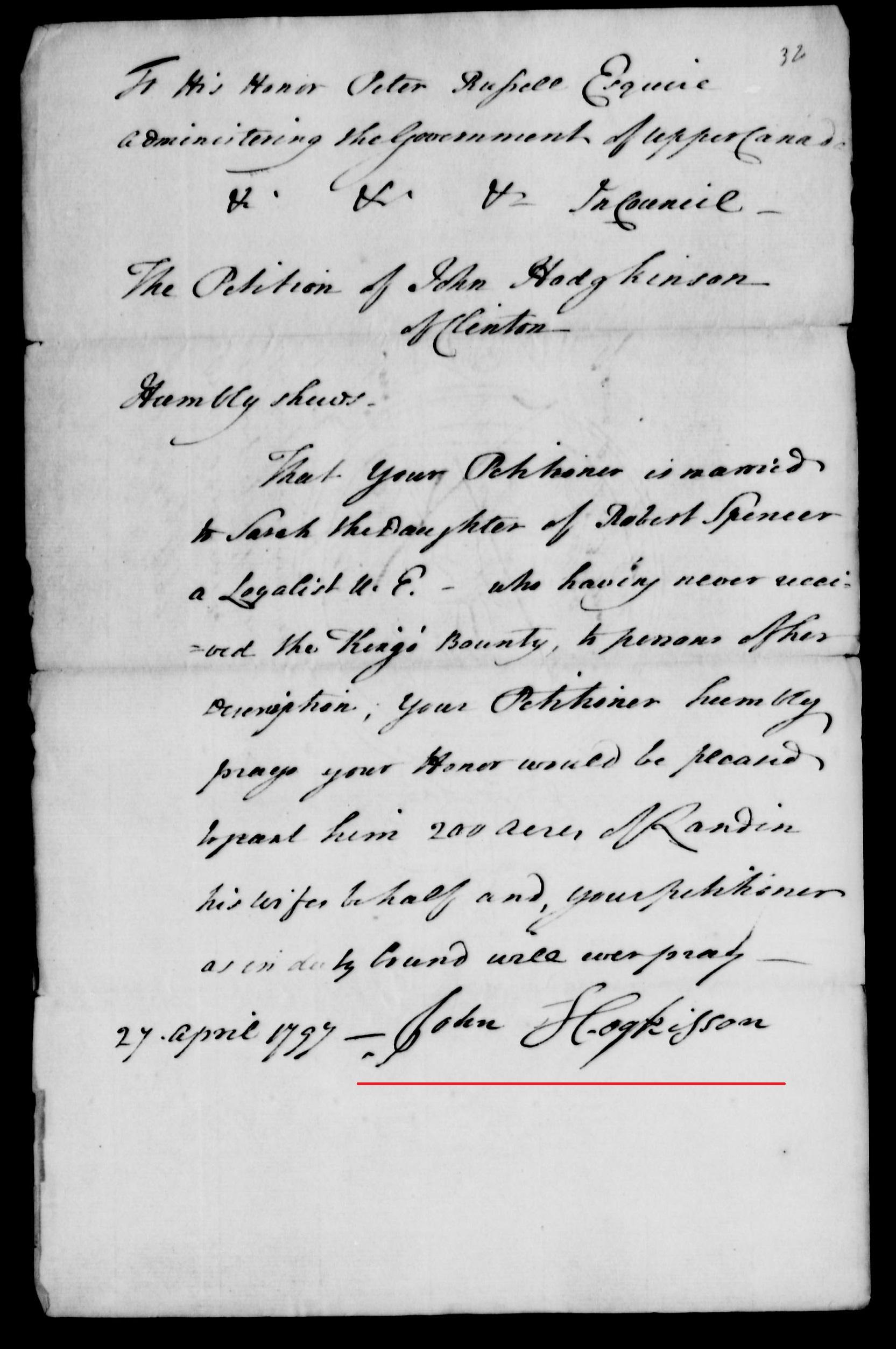 John Hodgkinson Petition 1797 p 1