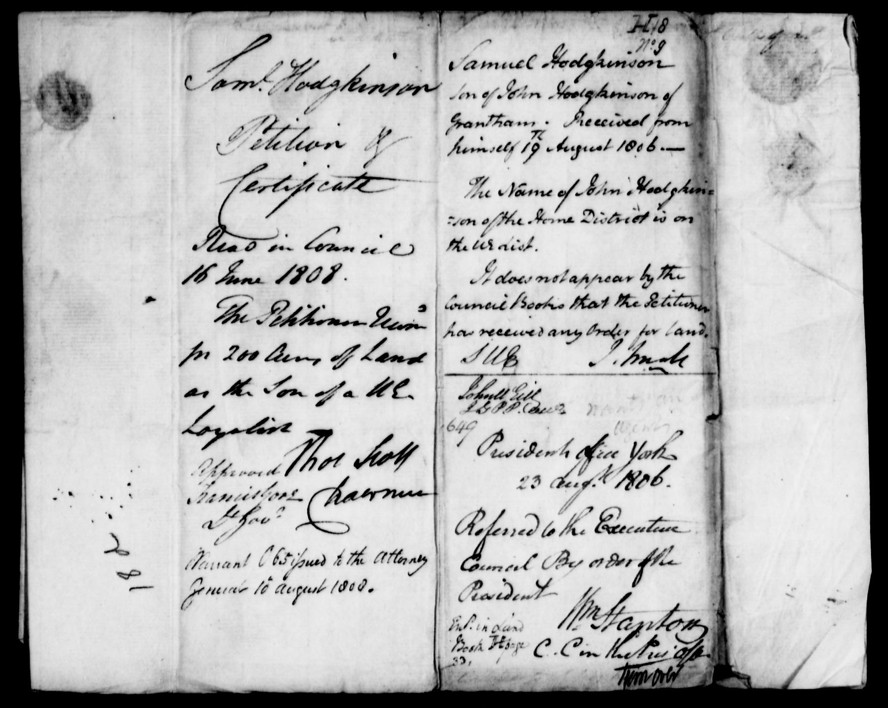 Samuel Hodgkinon Land Petition page 5