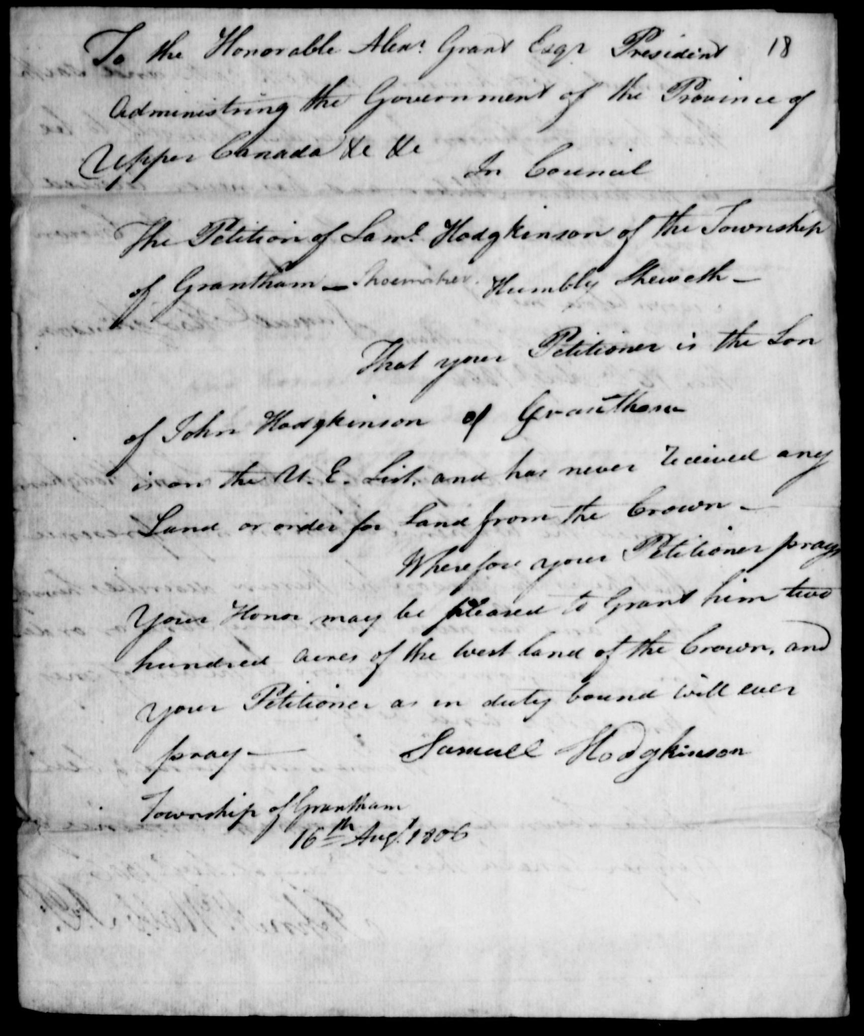 Samuel Hodgkinson Land Petition page 1
