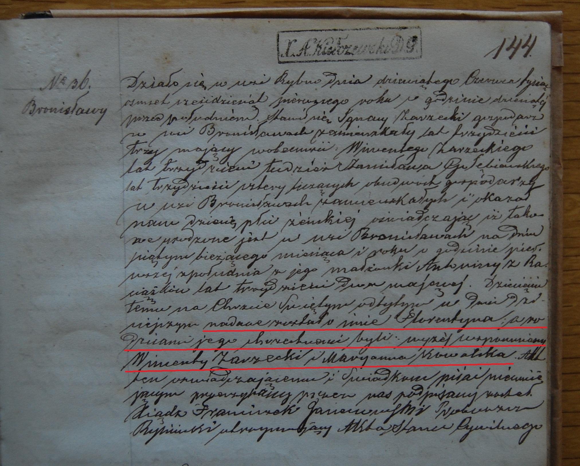 Florentyna Zarzcyka birth 5 June 1861 marked