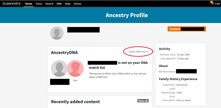 Ancestry Member Profile page