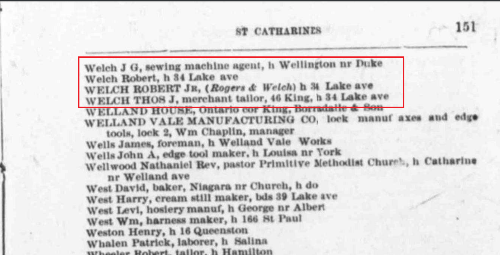 Welch in St. Catharines City Directory 1879 crop