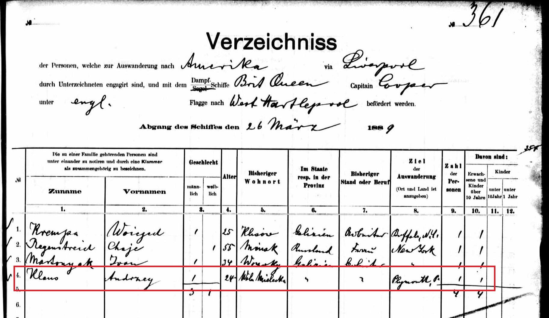 Andrzej Klaus manifest marked 1889